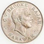 50 центов 1927 года. Саравак. Серебро 500. 10.4 грамма. Редкая.