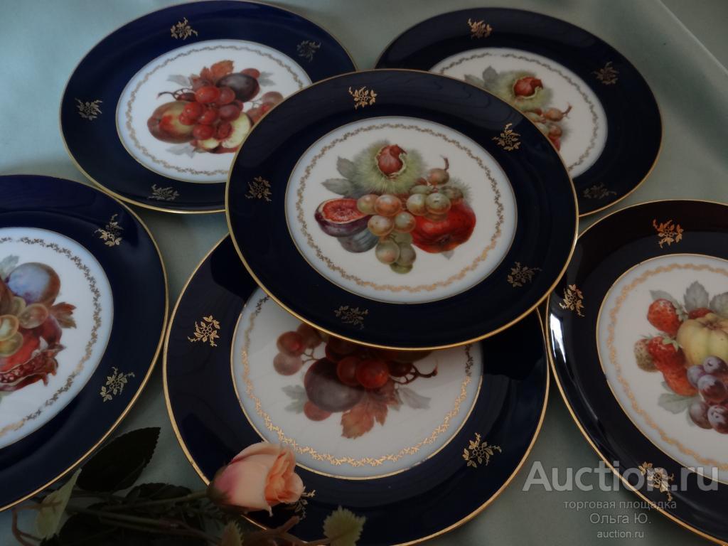 Набор 6 тарелок немецкий кобальт и фрукты от Розенталь