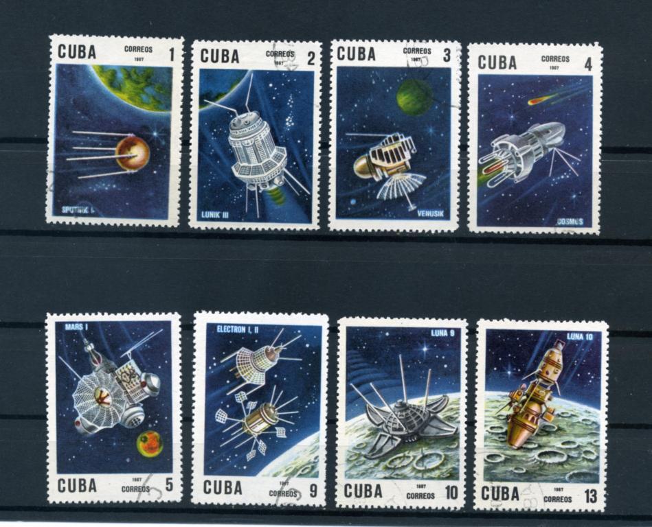 Куба. Космос. 10-летие запуска первого спутника. Спутники. Серия 8 марок. 1967