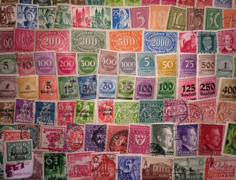 Коллекция 100 разных марок старой Германии