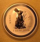 Лунар Год Кролика 1 доллар 1999 позолота, Ag999, 31.1 г, С РУБЛЯ!!!