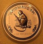 Лунар Год Обезьяны 1 доллар 2004 позолота, Ag999, 31.1 г, С РУБЛЯ!!!