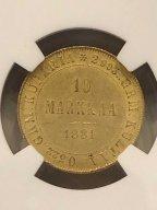 10 МАРОК 1881 S ФИНЛЯНДИЯ В  СЛАБЕ NGC MS 63 ЗОЛОТО