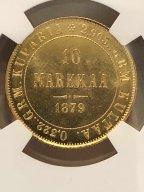 10 МАРОК 1879 S ФИНЛЯНДИЯ В  СЛАБЕ NGC MS 64+ ЗОЛОТО
