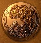 Серебряная монета 50 франков 2008 Африканская Унция Горилла позолота, Руанда, С РУБЛЯ!!!