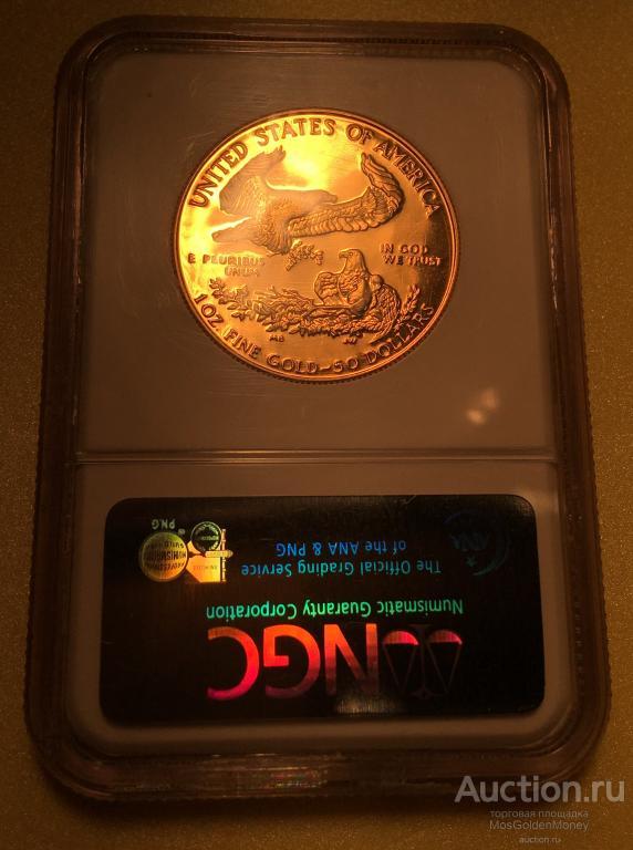 """Золотая монета 50 долларов """"Орел пруф"""", 1989г. NGC PF69 ULTRO CAMEO, США, 1oz, Au917, С РУ"""