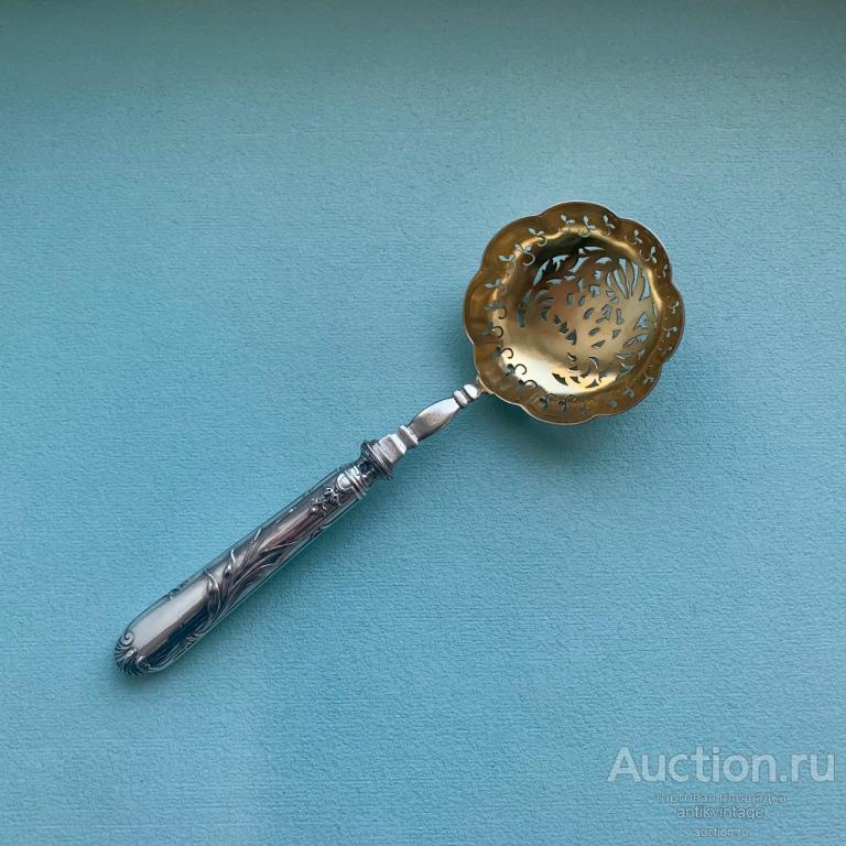 Серебряная ложка для пудры или маринадов Камыш, Франция