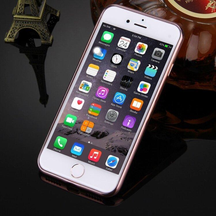 Силиконовый прозрачный чехол для iPhone 8 / 7 с глянцевой рамкой (Rose Gold)