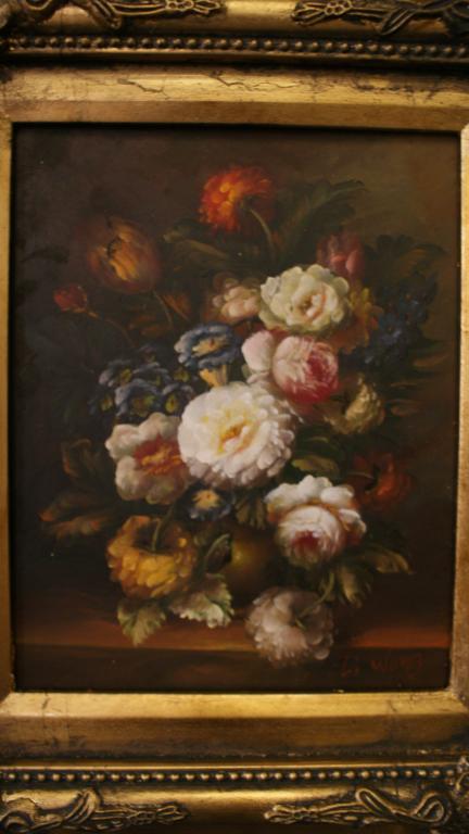 Картина маслом на Дереве ЦВЕТЫ,в деревянной рамке,подпись художника,Пано Европа, 37 х 42 х 7 см