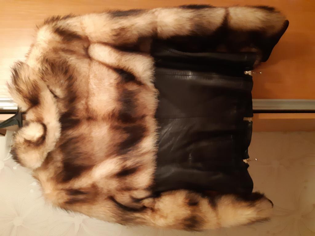 Куртка кожаная с натуральным мехом песца