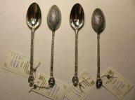 """Чайные ложки """"Ангелы"""" с орнаментом. 4 шт. Серебро 875 пробы. Общий вес: 51 грамм."""
