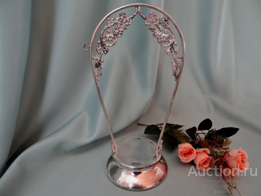 Бисквитница старинная цветное стекло Queen Silver City Co США