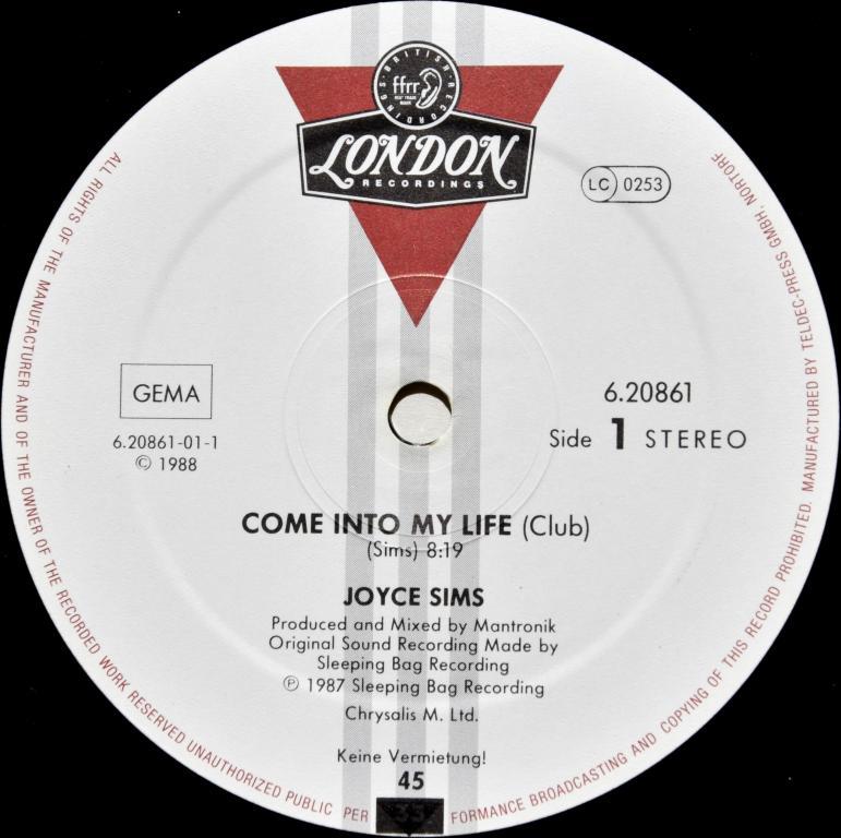 """Joyce Sims """"Come Into My Life"""" 1987 Maxi Single"""