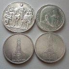 Серебро Германии 4 монеты одним лотом,3 марки 1913 год и 5 марок 1935 год-3 штуки