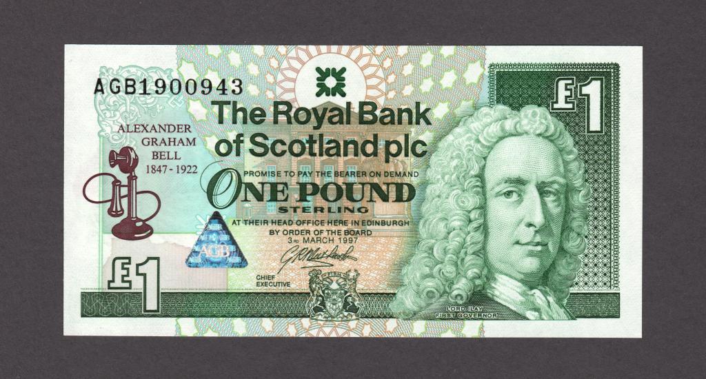 Шотландия 1 фунт 1997 юбилейная (P-359) UNC