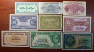 1, 2, 5, 10, 20, 25, 50, 100 и 1000 Шиллингов 1944 года. Оккупация Австрии. 9 купюр. Редкость!