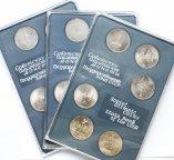 3 юбилейных набора: 6 монет, 1 рубль 1977-1980 год. Олимпиада 80. СССР. Медно-никель.