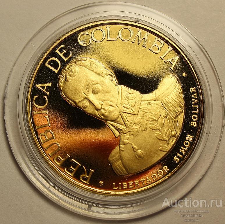 500 Песо 1969 год. Битва при Бояке. Колумбия. Золото 900 - 21.5 грамм. ПРУФ! Редкая!