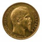 20 франков 1852 год, Франция,  Император Наполеон III, Золото, вес: 6,47 гр.