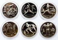 """6 монет: 1 рубль 1991 год. """"Барселона 1992"""". Пруф. В капсулах."""