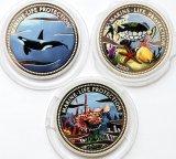3 монеты:  5 долларов 2002, 2003. Палау. 10 франков 2000. Конго. Серебро.
