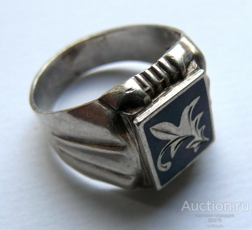 Кольцо печатка мужская серебро 925 проба звезда.