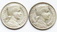 2 монеты! 5 лат 1929,1931 год. Серебро 835! Общий вес: 50,1 грамм. Латвия