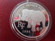 Франция 1,5 евро 10 франков 1996 ПРУФ. Слон. ОРИГИНАЛ СЕРЕБРО / Ю 312