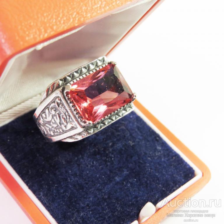 Кольцо Мужское Посеребрение камень Турмалин большое перстень Новое 1181