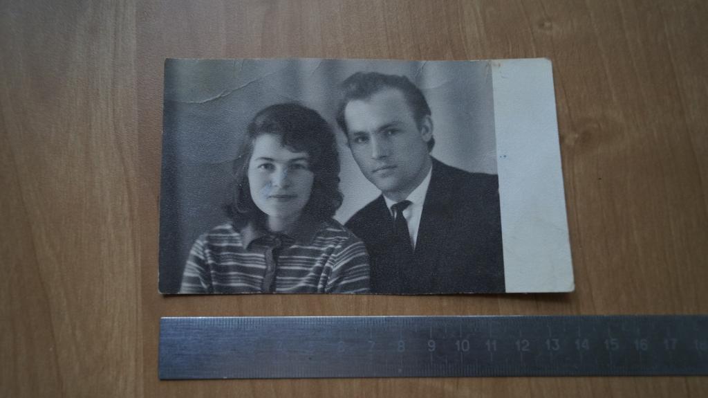 №524 Ретро фото СССР молодая советская семья муж и жена