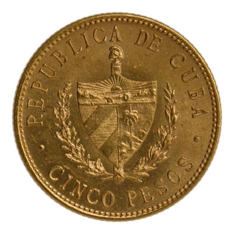 5 песо 1916 год. Куба. Золото. 8.4 грамм. Хороший сохран!