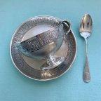 Серебряное чайное трио: чашка, блюдце и ложечка, клеймо Минерва, Франция