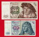 10 и 50 немецких марок 1980 года. Выпуски банкнот немецкого федерального банка, ФРГ. 2 шт. Редкость!