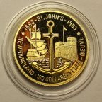 100 долларов 1983 год.400 лет объявления Ньюфаундленда первой заморской колонией.Золото 917-16.96 г.