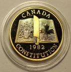 100 долларов 1982 год. Конституция. Канада. Золото 917 пробы - 16.96 грамм.