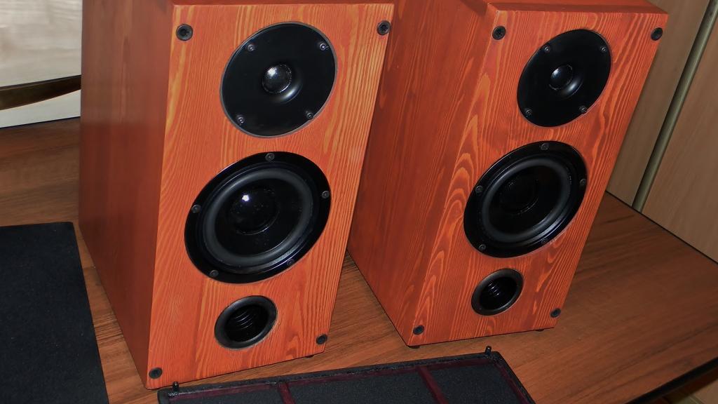Полочная акустика из комплектующих VISATON массив лиственницы