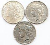 3 монеты: 1 доллар 1921, 1922 и 1934 год. США. Серебро 80.2 грамма.