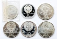 6 монет: 10 рублей 1977, 1978 год, 5 рублей 1977 год. Олимпиада 80. Серебро. ~167 грамм.