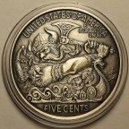 Серебряная монета 5 центов. Воин Викинг Берсерк. Либерти 1913. США. Серебро 999 пробы!
