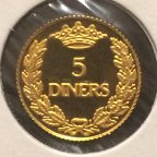 5 динар 1995 год.Орёл.Андорра.Золото 999 проба.PROOF.KM85.