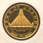 50 шиллингов 1969 год.Уганда.Визит папы Павла VI.Золото 900 проба.PROOF.