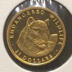 25 долларов 1990 год «Тигр.Дикая природа под угрозой».Острова Кука.Золото 999 проба.PROOF.KM85.