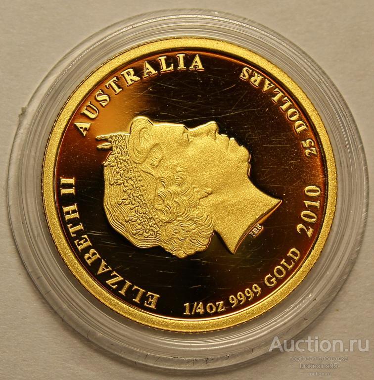 25 долларов 2010 год. Год тигра. Австралия. Золото 999 пробы - 7.78 грамм (1/4 oz).