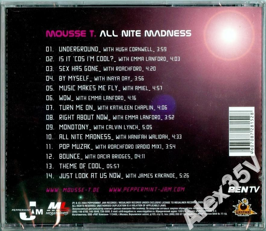 MOUSSE T. - ALL NITE MADNESS /CD box, Буклет/  2004 Peppermint Jam CD