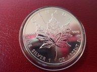Канада 5 долларов 1989 год. Кленовый лист. Унция .ОРИГИНАЛ !!СЕРЕБРО . / Ю 846