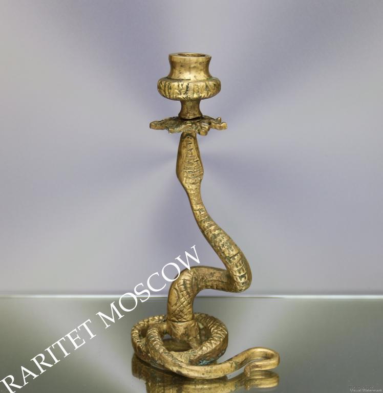 Подсвечник змея кобра бронза латунь Англия 73