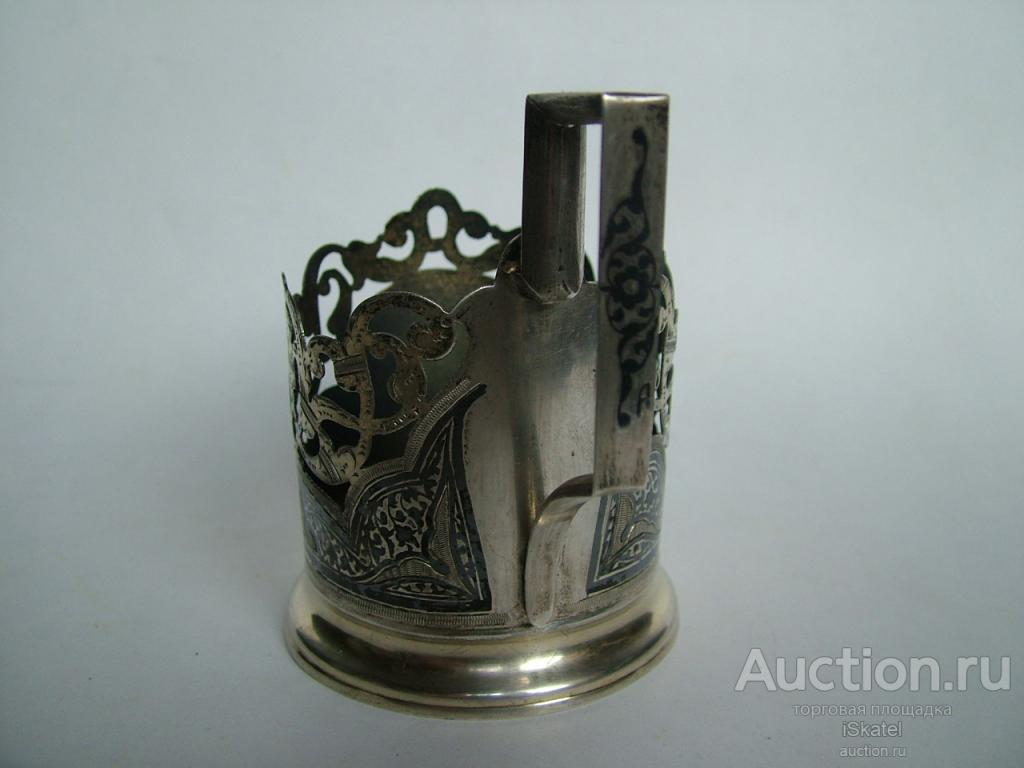 подстаканник серебро 875 проба золочение чернь СССР Художественный комбинат Кубачи до 1958