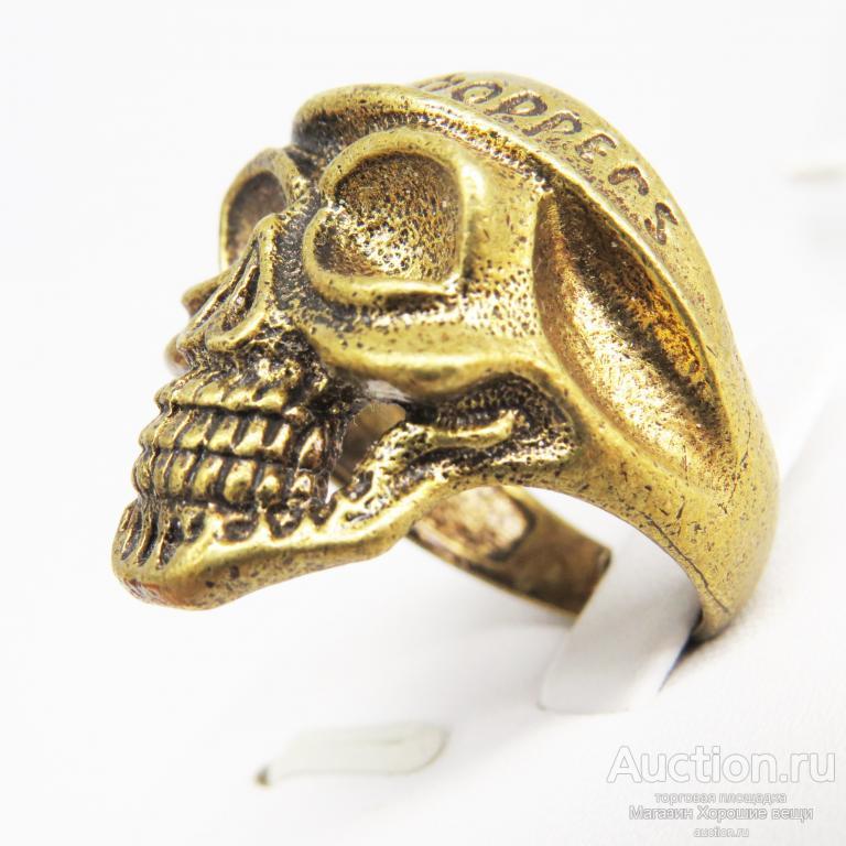 Кольцо Череп Байк бронза латунь мужское перстень Безразмерное от 19.5мм 651