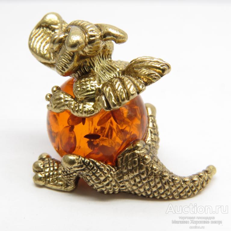 Настольная миниатюрная фигурка Дракон дракоша Янтарь Бронза (латунь) подарок интерьер 1604