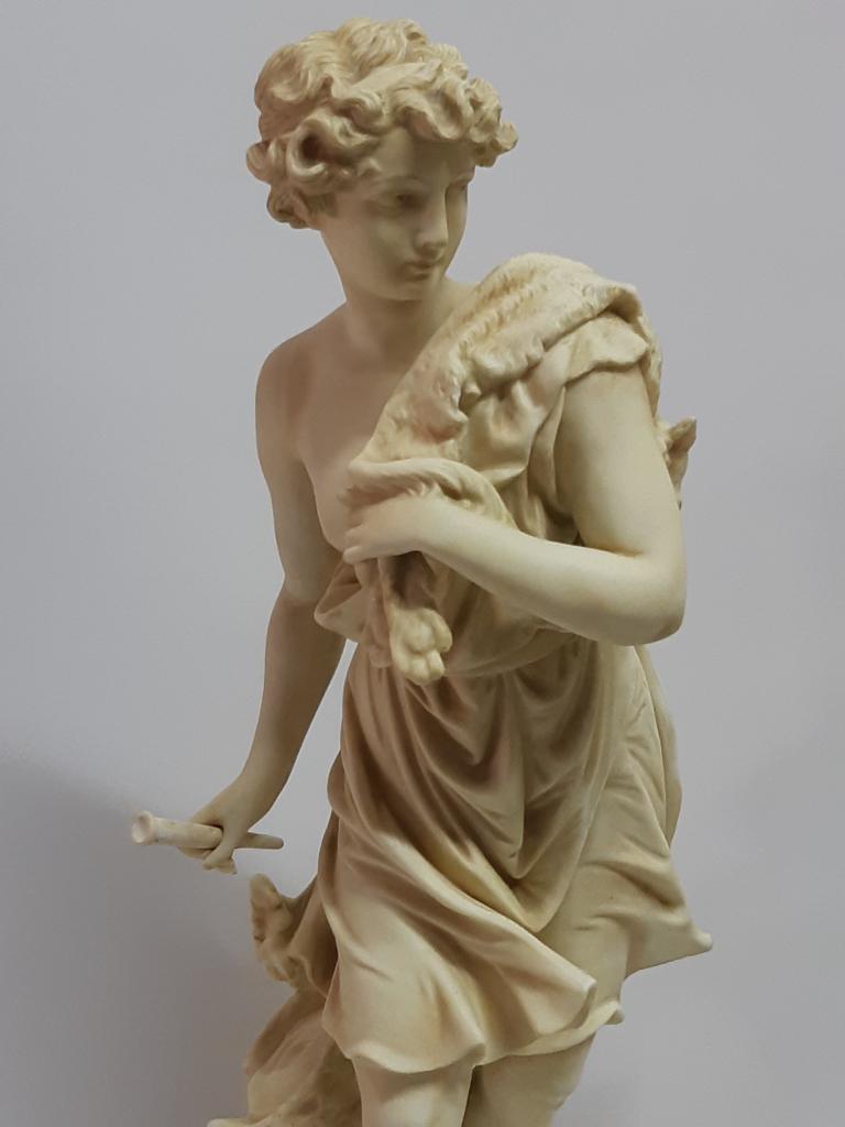 Скульптура Пара Девушка  с луком парень с волчьей шкурой Бисквит Германия h-  50 см RRR Сохран 1900